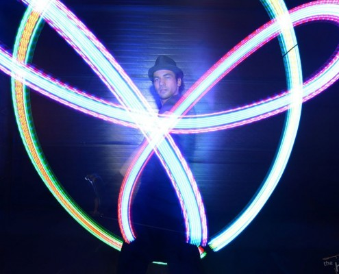 Martijn met Zebra LED Poi- LightsinMotion